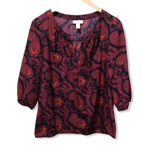 💥BOGO {LOFT} Red Paisley Printed Blouse